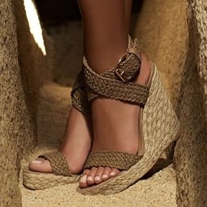 Stuart Weitzman Alex Crocheted Espadrille Wedges